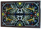 30 X 48 Inches Black Lawn Table Unique Design Inlaid Marble Dinning Table Top