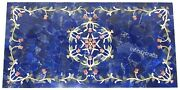 24 X 48 Inches Marble Beautiful Art Garden Table Top Blue Patio Coffee Table