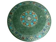 Green Marble Center Table Inlay With Gemstones Patio Coffee Table 42 X 42 Inches