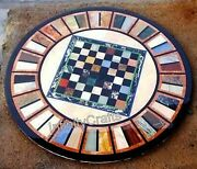 36 X 36 Inches Marble Lawn Table Top Round Shape Coffee Table With Gemstones