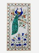 Peacock Design Inlaid Wall Panel White Dining Table Top Size 24 X 48 Inches