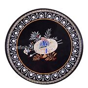 42 Inch Marble Table Stone Patio Dining Table Top With Inlay Work Christmas Gift