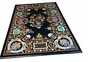 30 X 48 Inches Floral Design Inlaid Coffee Table Top Black Marble Hallway Table