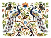 30 X 36 Inches White Dining Table Top Peacock Design Inlaid Unique Wall Panel