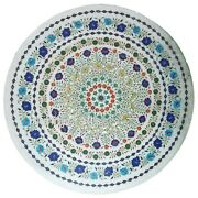 36 Inches Marble Lawn Table Top White Restaurant Table With Semi Precious Stones