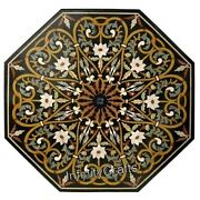 Vintage Art And Crafts Work Inlaid Coffee Table Top Octagon Office Table 36 Inch