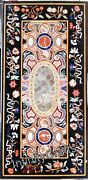 30 X 60 Inches Floral Wok Inlaid Marble Coffee Table Top Black Kitchen Table