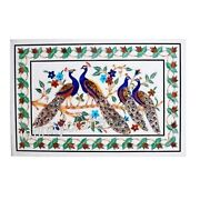 30 X 48 Inches Marble Wall Panel White Coffee Table Unique Peacock Design Inlaid