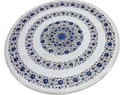 42 Inches Round Shape Patio Coffee Table Top Marble Kitchen Table With Gemstones