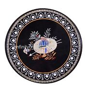 48 Inch Marble Meeting Table Top Exclusive Design With Gemstones Coffee Table