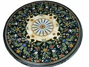 48 Inches Marble Inlay Table Top Round Shape Dining Table Cottage Handcrafted