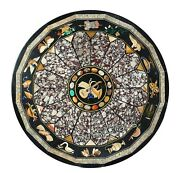 48 Inches Round Dining Table Top Black Patio Office Table Inlay Art Home Assents