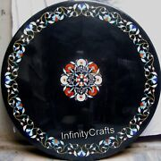 Multi Gemstones Inlaid Marble Coffee Table Top Black Sofa Table Size 48 Inches