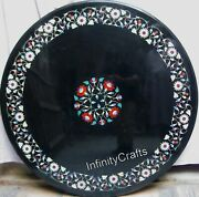 48 Inches Marble Inlay Lawn Table Top Round Patio Coffee Table With Gemstones