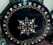 48 X 48 Inches Black Hallway Table Top Round Patio Coffee Table With Gemstones