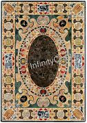 36 X 48 Inch Black Stone Table Top Marble Dining Table Inlay With Cottage Crafts
