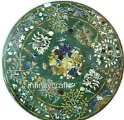 48 Inches Marble Green Sofa Table Top Round Dining Table With Pietra Dura Art