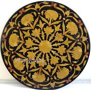 48 Inches Marble Patio Sofa Table Top Round Dining Table Inlay Floral Pattern