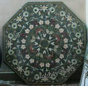48 X 48 Inches Marble Meeting Table Top Green Patio Dining Table With Gemstones