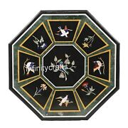 48 X 48 Inches Marble Lawn Table Top With Royal Bird Design Patio Dining Table