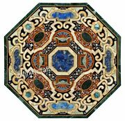 Octagon Shape Marble Kitchen Table Top Black Coffee Table Inlay Art Size 42 Inch