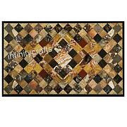 Semi Precious Stones Inlaid Coffee Table Top Marble Dining Table 36 X 60 Inches