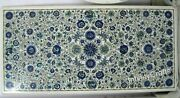 24 X 48 Inch Rectangle Marble Beautiful Table Top Gemstones Inlaid Dining Table