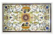 30 X 48 Inches Marble Inlay Patio Table Top White Dining Table With Heritage Art