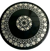 42 X 42 Inches Hallway Table Top Black Marble Dining Table With Mop Work Inlaid