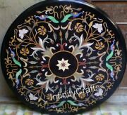 48 Inches Round Black Hallway Table Top Heritage Crafts Inlaid Coffee Table
