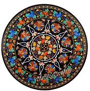 Beautiful Black Marble Patio Table Top Pietra Dura Art Coffee Table 48 Inches