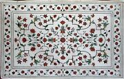 Rectangle Shape Coffee Table Top Marble Hotel Table With Inlay Work 36 X 60 Inch