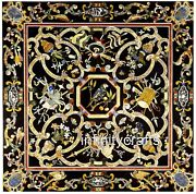 48 X 48 Inch Black Marble Hallway Table Top Square Coffee Table Pietra Dura Art