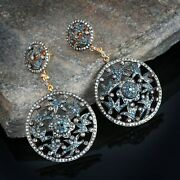 925 Sterling Silver Diamond Pave Dangle Earrings 14k Gold Christmas Gift Jewelry