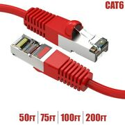 50 - 200ft Cat6 Rj45 Network Ethernet Modem Sstp Shielded Patch Cable 26awg Red