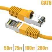 50ft-200ft Cat6 Network Ethernet Modem 26awg Sstp Shielded Cable Molded Yellow