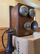 Antique Wall Hanging Telephone Delville Magnet Type Vintage Retro Phone Interior
