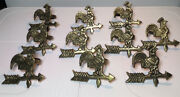 Vintage Brass Napkin Rings Chicken Rooster Farmhouse Animal - Holders Set Of 10