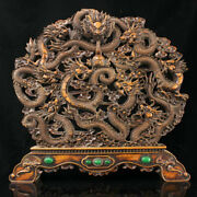20 Rare Old Chinese Boxwood Wood Dynasty Palace Nine Dragon Bead Screen Statue