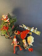 Lot Of Vintage Christmas Decorations Figures Some Japan