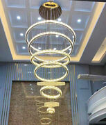 Dimming Led 6/8 Ring Crystal Lamp Hanging Chandelier Staircase Ceiling Lighting