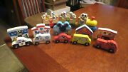 Melissa And Doug Disney Mickey Mouse Lot All Aboard Train Set And Wooden Vehicles