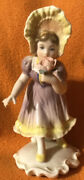 Karl Ens Girl Porcelain Holding A Rose 🌹 Purple And Yellow 1919-1945 Mark