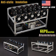 Usa 6 Gpu Stackable Aluminum Mining Rig Frame Open Air Miner Case Ethereum Eth