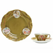 Porcelain Tea Cup With Two Saucers Materials Decal Gilding Dates 1766 - 1891