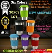 17oz Starbucks 20pcs Stainless Steel Coffee Cup Mixed 6 Colors Coffee Tumbler