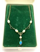 Antique Art Deco 9ct Gold Jelly Opal And Faux Pearl Geometric Pendant Necklace