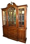 Vintage Two Piece Ethan Allen Traditional Style China Cabinet W/bubble Glass