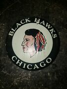 Large Vintage Chicago Black Hawks Hockey Button Pin Collectible Rare Unique