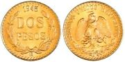 1945 Mexico 2-peso Uncirculated Gold Coin - Free Shipping